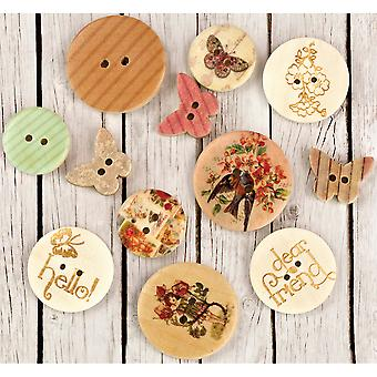 Fairy Rhymes Wood Buttons 12/Pkg-