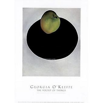Green Apple on Black Plate Poster Print by Georgia OKeeffe (18 x 25)