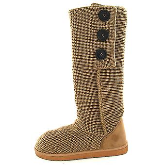 Ladies Spot On Flat Knitted Boot with Button Vamp