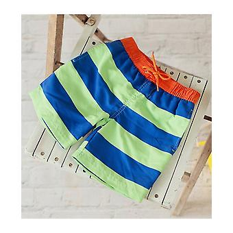 Big Fisch Boys Striped Swim Shorts - Royal & Lime