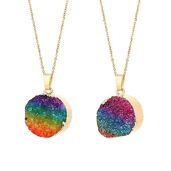 Crystal Necklace-Round Rainbow with Gold edges