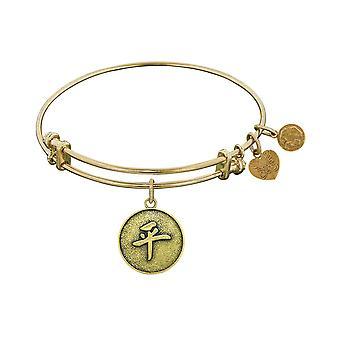 Stipple Finish Brass Chinese Peace Angelica Bangle Bracelet, 7.25