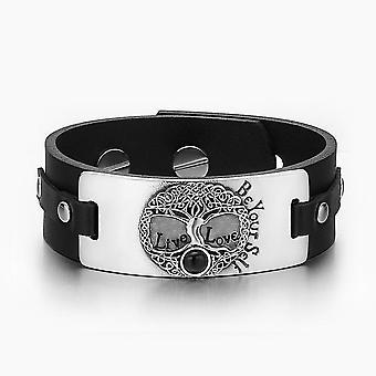 Livets træ Live kærlighed være din Self keltiske Amulet simulerede sort Onyx sort læder armbånd