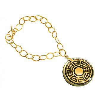 Gemshine - damer - armband - hänge - medaljong - guld - grå - 3 cm