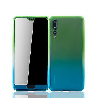Groene Huawei P20 Pro mobiele case bescherm-behuizing full-cover bescherming kogelvrij / blauw