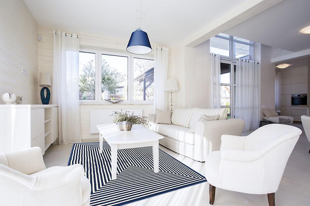 Buiten tapijt voor terras balkon blauw wit vitaminic vlecht navy