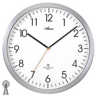 Atlanta 4382/4 wall clock radio radio controlled wall clock analog silver round quietly without ticking