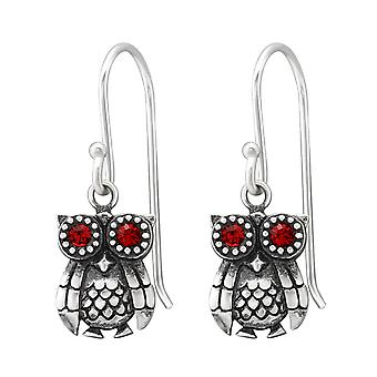 Owl - 925 Sterling Silver Crystal Earrings - W37800X