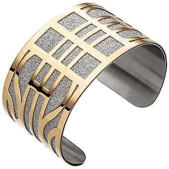 Cuff / open Bangle coated stainless steel of wide yellow gold colors bracelet