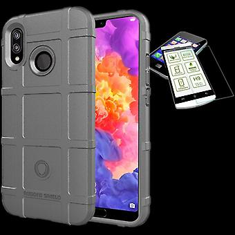 For Xiaomi MI A2 Lite shield case TPU silicone grey + 0.26 mm 2.5 d H9 tempered glass bag case cover sleeve