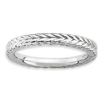 2,5 mm argento lucidato modellato a cupola banda anello rodiato di impilabile espressioni a cupola - formato dell'anello: 5-10