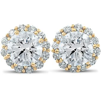 2 5/8 Ct. Round Halo Diamond Studs 14k Yellow Gold Earrings