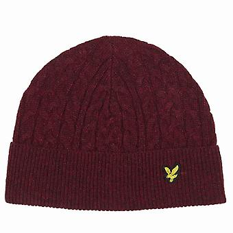 Lyle and Scott Cable Knit Beanie Hat  Claret Marl