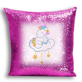 i-Tronixs - Unicorn Printed Design Pink Sequin Cushion / Pillow Cover for Home Decor - 1
