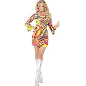 Fever 60's Flower Power Costume, UK Dress 12-14