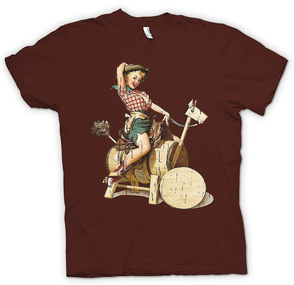 Heren T-shirt - Vintage Cow Girl Pin Up - Retro