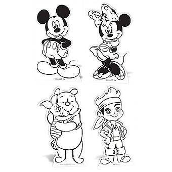 Color de Disney y guardar recortes de cartulina / Standups / transportines - incluye Mickey Mouse, Minnie Mouse, Winnie The Pooh y Jake