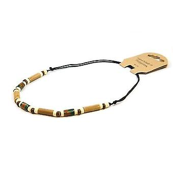 TOC Fimo & Bamboo Beads Necklace on Adjustable Black Cord FJ286