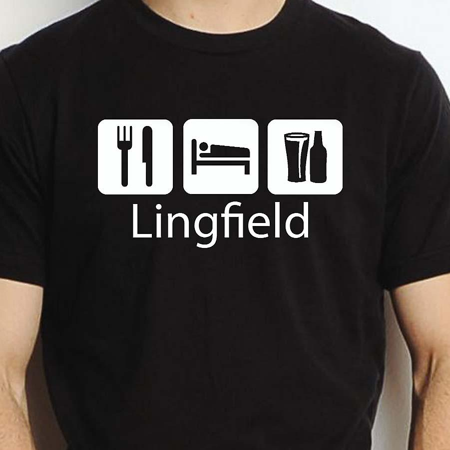 Eat Sleep Drink Lingfield Black Hand Printed T shirt Lingfield Town