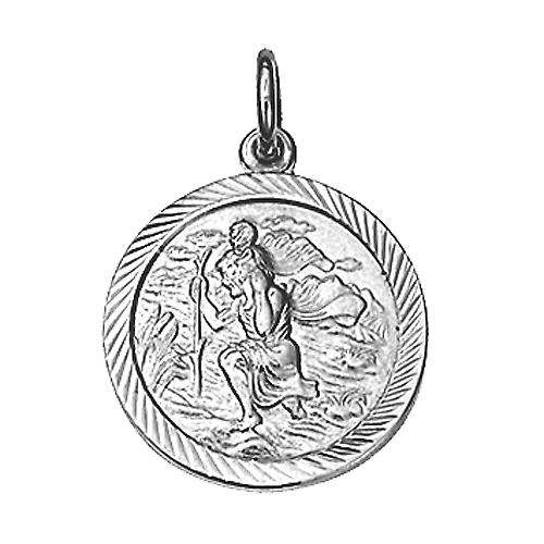 Silver 20mm round diamond cut edge St Christopher Pendant