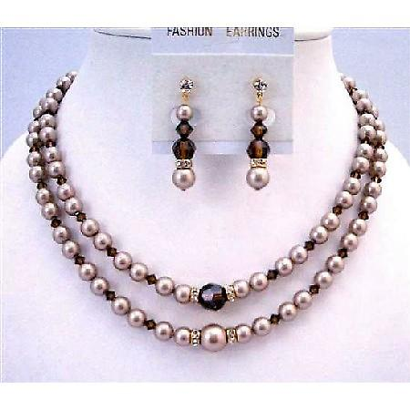 Golden Rondells Swarovski Champagne Pearl Double Stranded Necklace Set