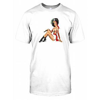 Pin Up Art Lady Dressed as Pirate Mens T Shirt