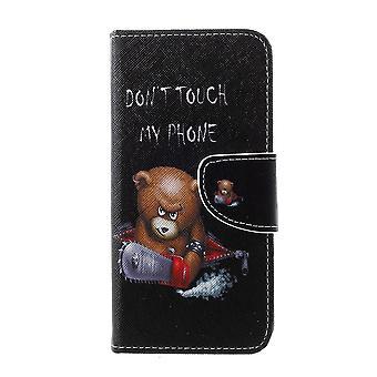 Samsung Galaxy S10e cartera bolsa marrón oso y palabras de advertencia