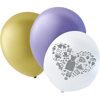 Globos de boda, púrpura, marfil y blanco con gris