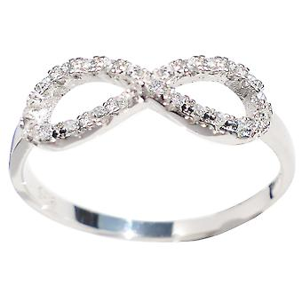 Ah! Jewellery Sterling Silver Infinity Ring With Simulated Diamonds