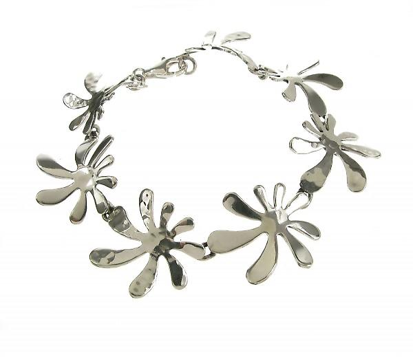 Cavendish French Sterling Silver Hammered and Shiny Splash Bracelet