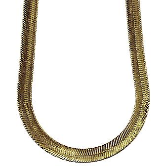 14K Gold Plated Herringbone Chain Necklace 11mm wide