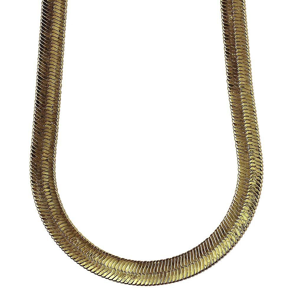14K Gold Plated Herringbone Chain Necklace 11mm x 24 inches long High Quality