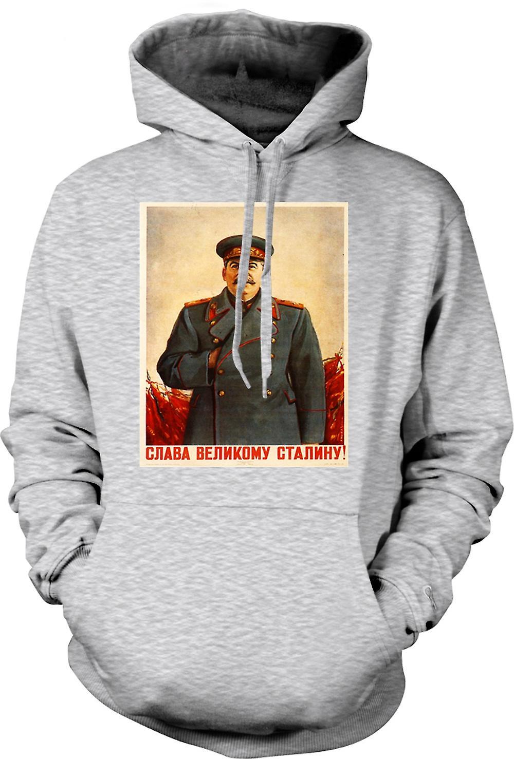 Mens hettegenser - russisk propaganda plakat - Stalin