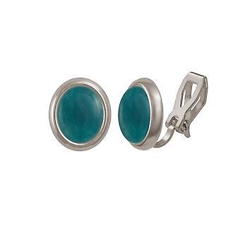 Eternal Collection Minuet Teal Quartz Cabochon Silver Tone Stud Clip On Earrings