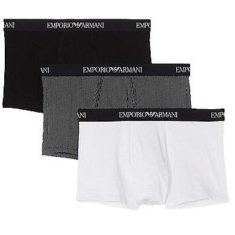 Emporio Armani Coloured Pure Cotton 3-Pack Trunk, Black / Print / White, Large