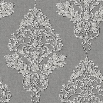 Holden Decor Holden Hadrian Damask Pattern Wallpaper Stone Brick Effect Metallic Glitter Vinyl 35509