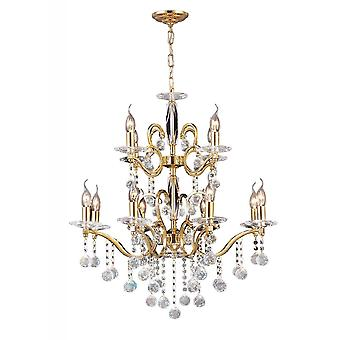 Diyas Zinta Pendant 2 Tier 12 Light French Gold/Crystal (ITEM REQUIRES ASSEMBLY)