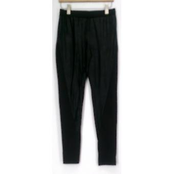 Kate et Mallory Pantalons Distressed Pull On w / Knit Panel Sides Black A420645