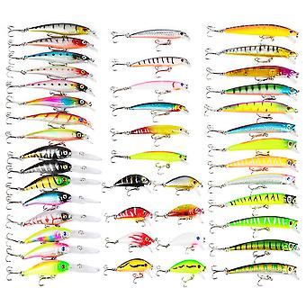 43 pcs colorful fishing lure tackle artificial minnow crank baits imitation fish shape lure with fishhook