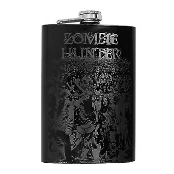8oz black zombie hunter flask l1