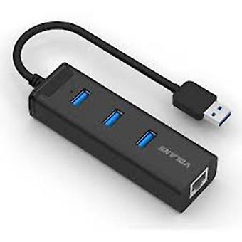 Volans Aluminium 3Port USB3.0 HUB mit RJ45 Gigabit Ethernet Adapter