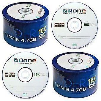 Quad 4 Pack DVD-R AOne Logo Spindel/Cake Box 50 Blank Scheiben 200 x beschreibbare DVDs (16 X schreiben)