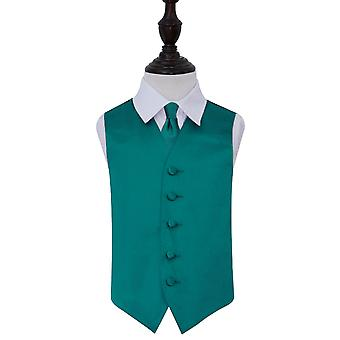 Boy's Teal Plain Satin Wedding Waistcoat & Tie Set