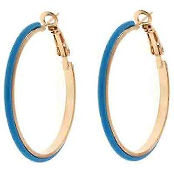 Blauer Emaille Fashion Hoop Ohrringe 4 cms