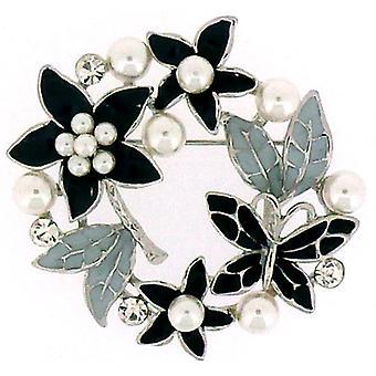 Brosjer Store sort grå emalje Pearl & Crystal sommerfugl med blomster krans B