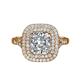 1.70ct White Sapphire and Diamonds Ring Rose Gold 14K Double Halo Cushion