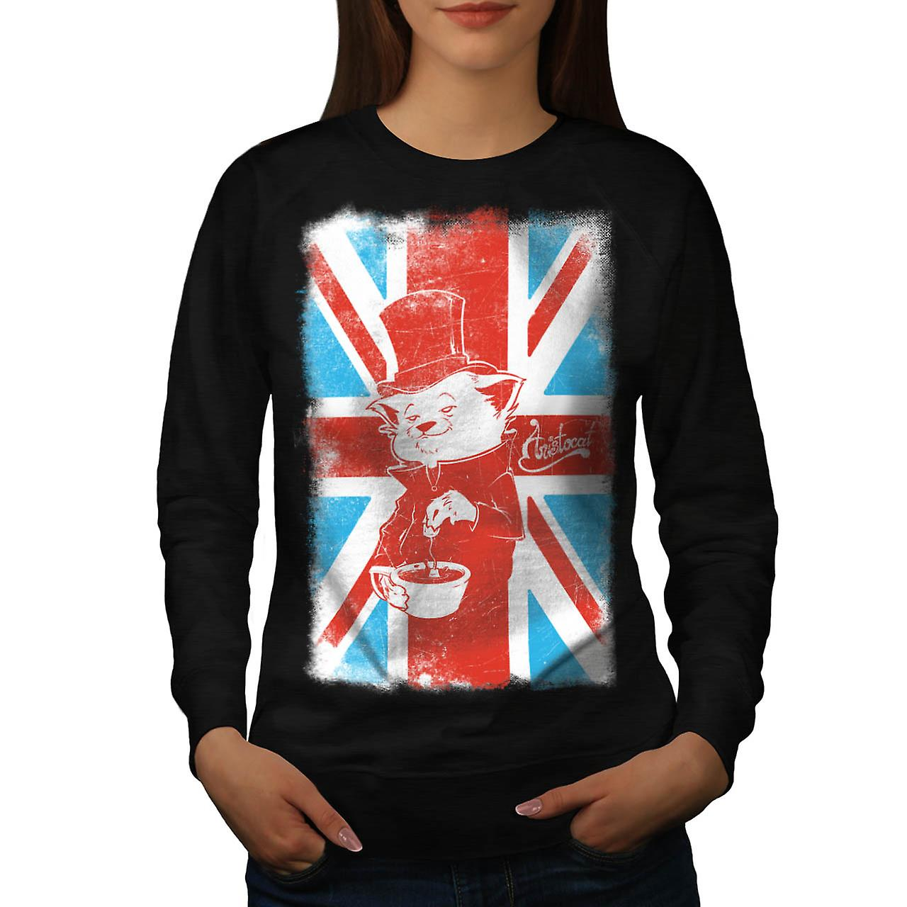 UK Cat Pet Aristocat British Tea Women Black Sweatshirt | Wellcoda