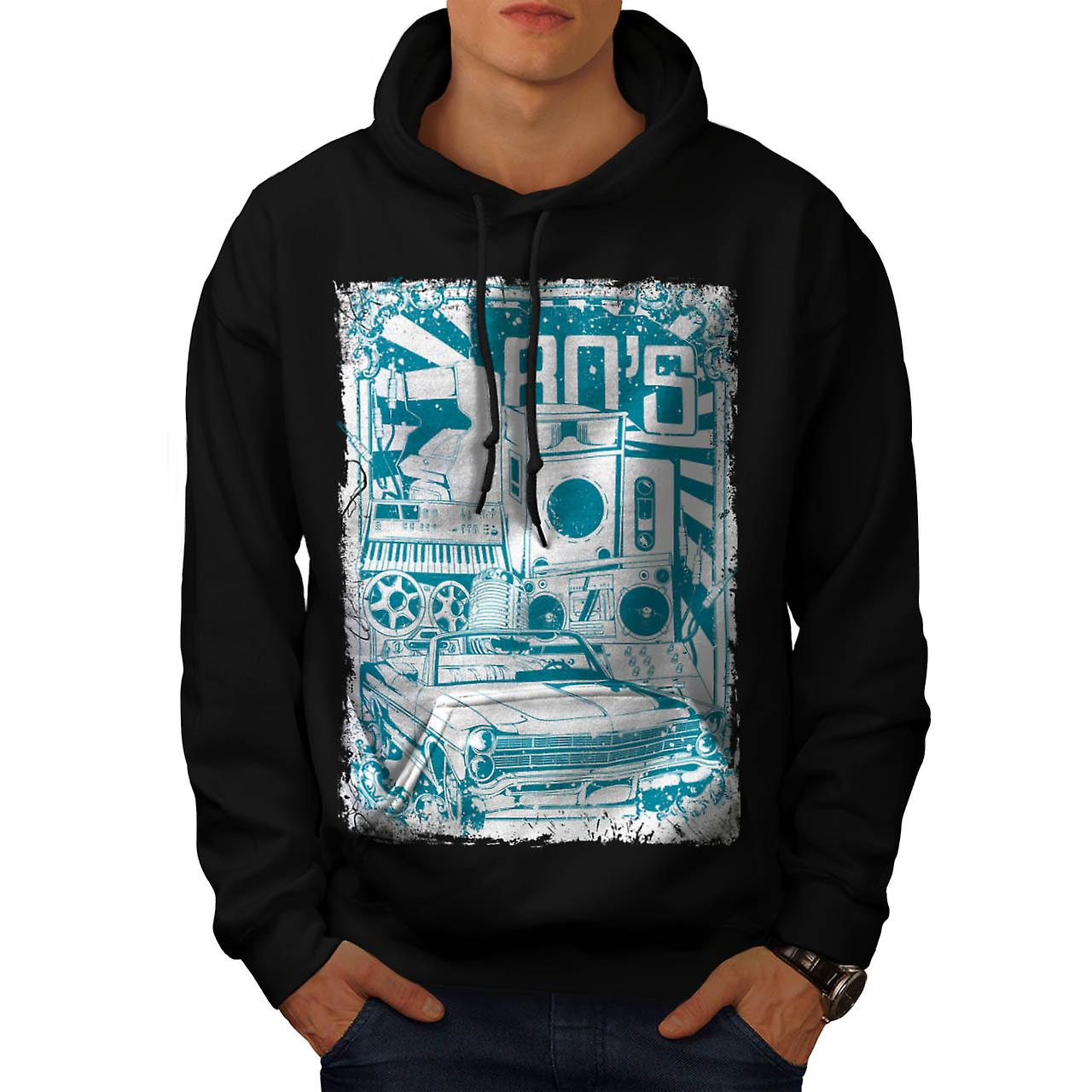 80s Music Car Vintage Men Black Hoodie | Wellcoda
