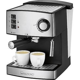 Espresso machine Clatronic ES 3643 Black, Stainless steel 850 W incl. cup warmer, incl. frother nozzle