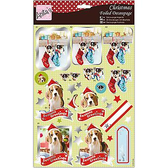 Anita's A4 Foiled Decoupage Sheet-Stocking Full Of Puppies A169682